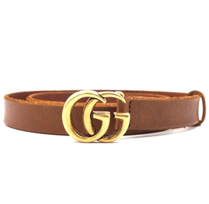 Gucci Rare GG Marmont logo gold buckle Skinny leather Belt Size 75 30