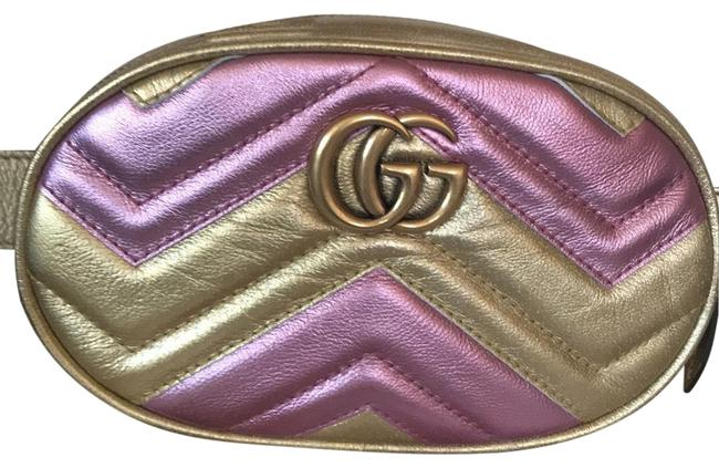 Gucci Belt Marmont Gg Matelasse 34/85 Gold Leather Cross Body Bag Gucci Belt Marmont Gg Matelasse 34/85 Gold Leather Cross Body Bag Image 1