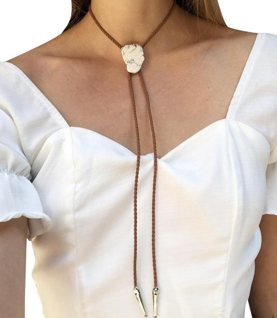 Item - Brown White Stone Bolo Tie Turquoise Braided Vegan Faux Leather Silver Tips Necklace