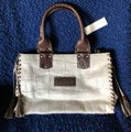 Kate Landry Rare Made In Italy Leather Hide Satchel in bone & brown