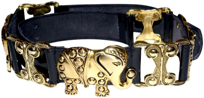 Vintage Black Gold Elephant Patent Faux Leather Belt Vintage Black Gold Elephant Patent Faux Leather Belt Image 1