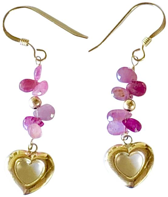 """Item - 14k Gold Red Rubies Hearts Ruby Briolette 3cts 1/4"""" French Wire New Earrings"""