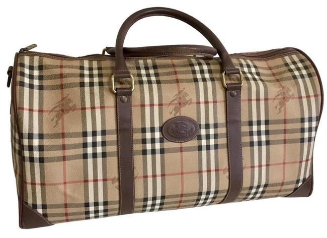 Item - Unisex Nova Check Coated Canvas Brown Patent Leather Weekend/Travel Bag