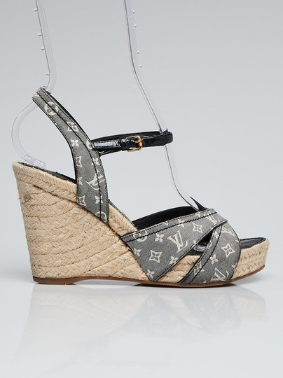 3fbe27b16d7 Louis Vuitton Multicolor Blue Lv Monogram Ankle Strap Wedges Sandals Size  EU 38 (Approx. US 8) Regular (M, B) 52% off retail
