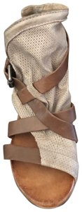Miz Mooz brown straps, taupe perforated leather. Sandals