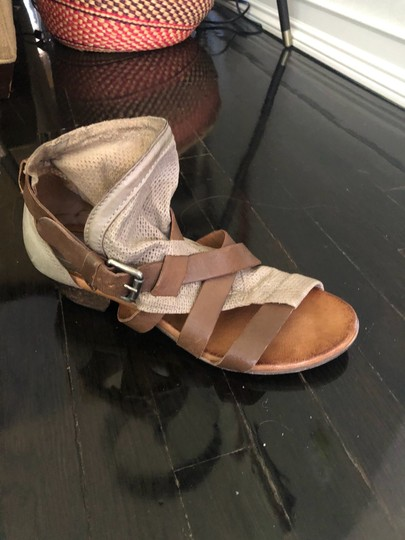 Miz Mooz brown straps, taupe perforated leather. Sandals Image 2
