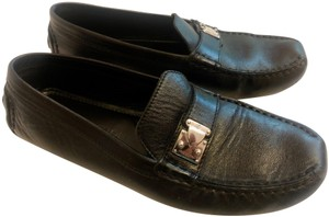 Louis Vuitton Mocassin Loafers Leather Stitched Black Flats
