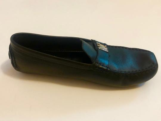Louis Vuitton Mocassin Loafers Leather Stitched Black Flats Image 2