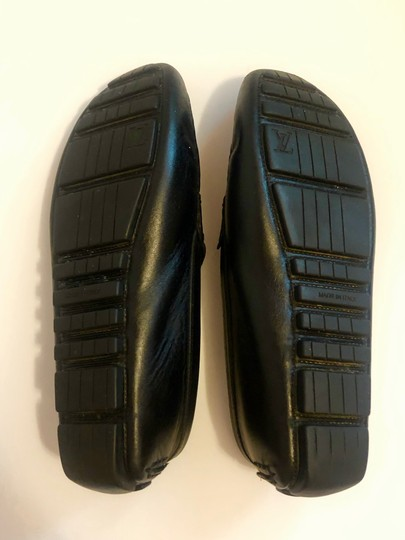 Louis Vuitton Mocassin Loafers Leather Stitched Black Flats Image 7