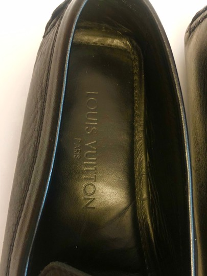 Louis Vuitton Mocassin Loafers Leather Stitched Black Flats Image 9