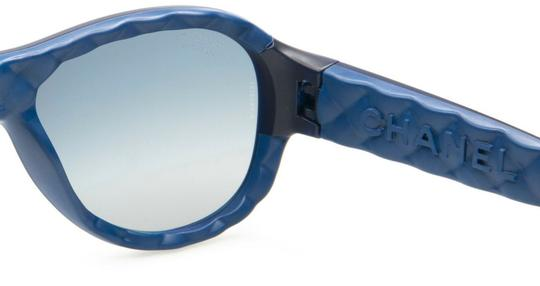 Chanel CH5288-Q c.714/S9 Blue Black Leather Quilted Sunglasses 56mm Italy Image 2