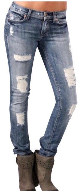 Item - Blue Distressed Roxanne Destroyed Skinny Jeans Size 6 (S, 28)