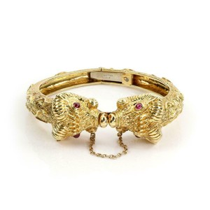 Other Cellino 1.10ct Ruby 18k Yellow Gold Double Rams Head Hinged Bracelet