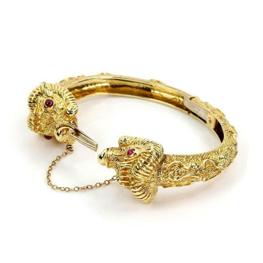 Other Cellino 1.10ct Ruby 18k Yellow Gold Double Rams Head Hinged Bracelet Image 1