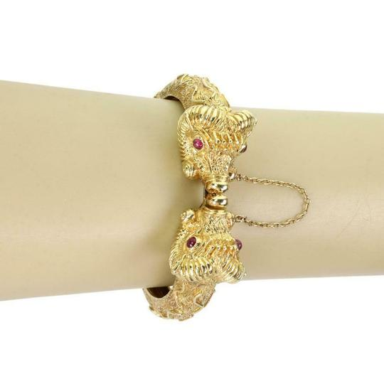 Other Cellino 1.10ct Ruby 18k Yellow Gold Double Rams Head Hinged Bracelet Image 2