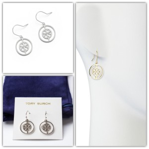 Tory Burch Tory Burch Deco Logo Drop Earrings Silver