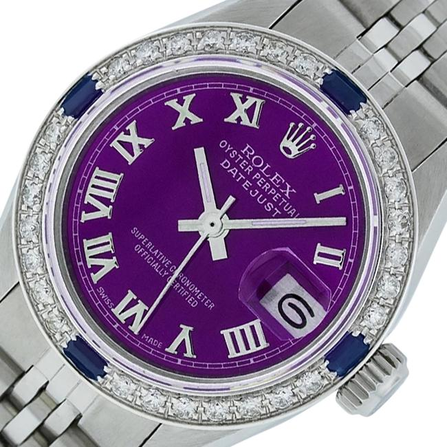 Item - Purple Roman Ladies Datejust Stainless Steel with Dial Watch