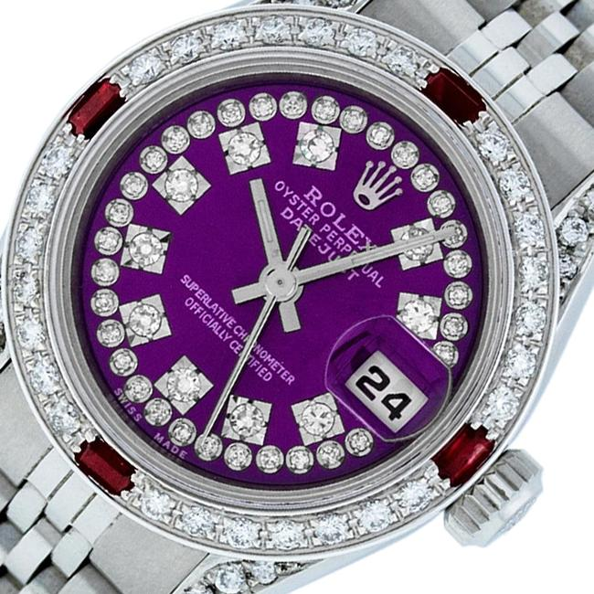 Item - Purple Ladies Datejust Stainless Steel with String Diamond Dial Watch