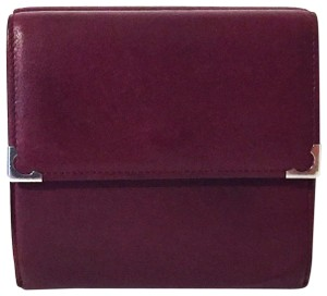 Cartier Classic red leather like new double snap wallet