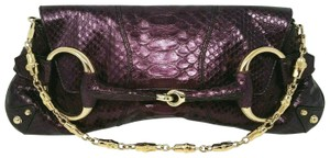 Gucci Horsebit Clutch Python Leather Bamboo Chain Shoulder Bag