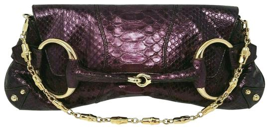 Gucci Horsebit Clutch Python Leather Bamboo Chain Shoulder Bag Image 0