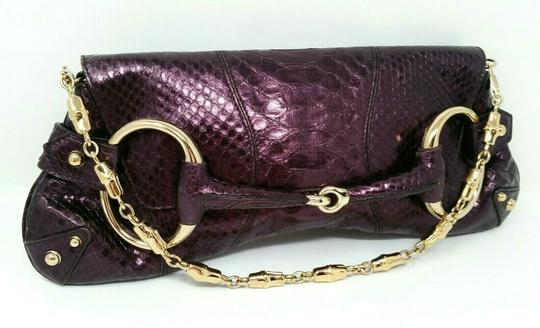 Gucci Horsebit Clutch Python Leather Bamboo Chain Shoulder Bag Image 10