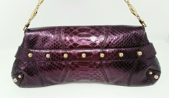 Gucci Horsebit Clutch Python Leather Bamboo Chain Shoulder Bag Image 3