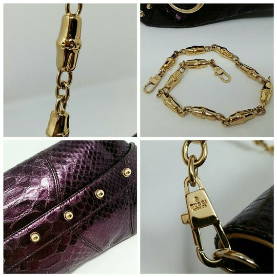 Gucci Horsebit Clutch Python Leather Bamboo Chain Shoulder Bag Image 4