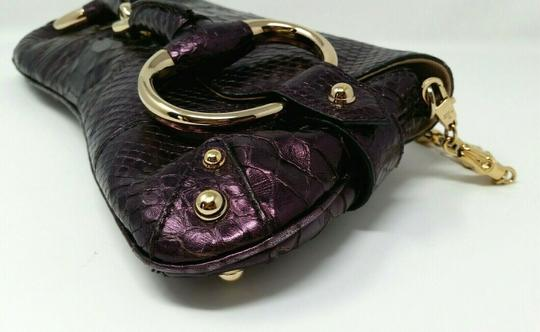 Gucci Horsebit Clutch Python Leather Bamboo Chain Shoulder Bag Image 6