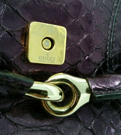 Gucci Horsebit Clutch Python Leather Bamboo Chain Shoulder Bag Image 8