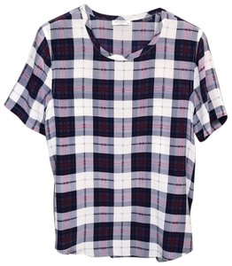 Equipment Silk Plaid Short Sleeve Top