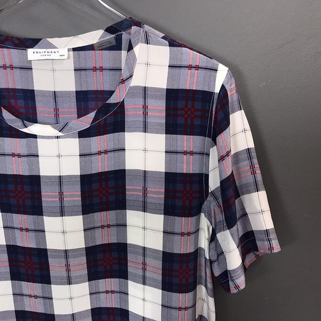 Equipment Silk Plaid Short Sleeve Top Image 1