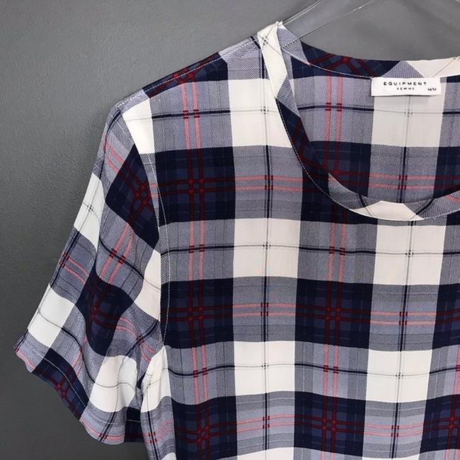 Equipment Silk Plaid Short Sleeve Top Image 3