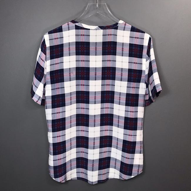 Equipment Silk Plaid Short Sleeve Top Image 4