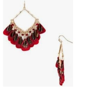 Kendra Scott Kendra Scott Maroon Rose Gold Raven Feather Earrings