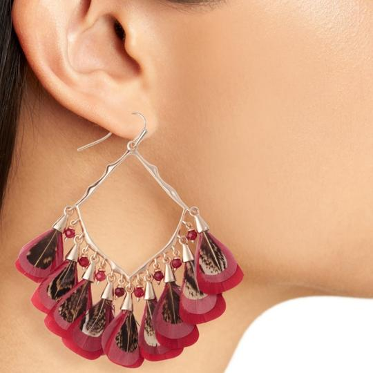 Kendra Scott Kendra Scott Maroon Rose Gold Raven Feather Earrings Image 1