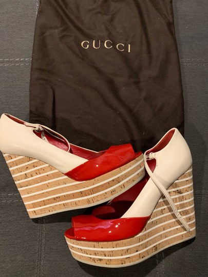 Gucci Red/Off White Wedges Image 2