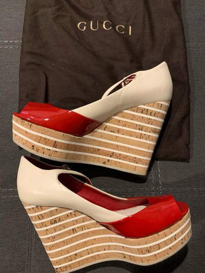 Gucci Red/Off White Wedges Image 3