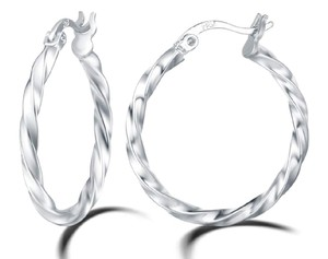 Other TWISTED ROUND HOOP 1 INCH EARRINGS