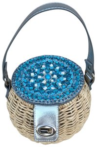 Cappelli Straworld Straw Silver Round Hobo Bag