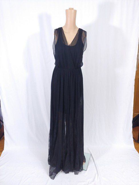 Black Maxi Dress by Alice + Olivia Silk Godet Faux Wrap Chiffon Maxi Image 2