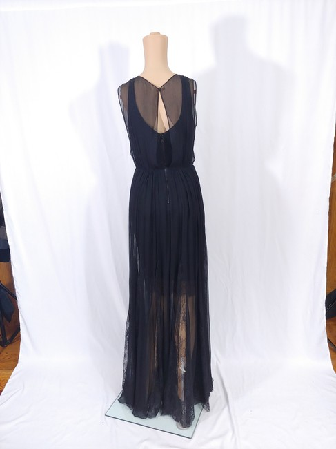 Black Maxi Dress by Alice + Olivia Silk Godet Faux Wrap Chiffon Maxi Image 6