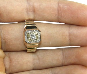 Other Round Diamond Square Solitaire Men's Signet Ring 14k Yellow Gold .50Ct