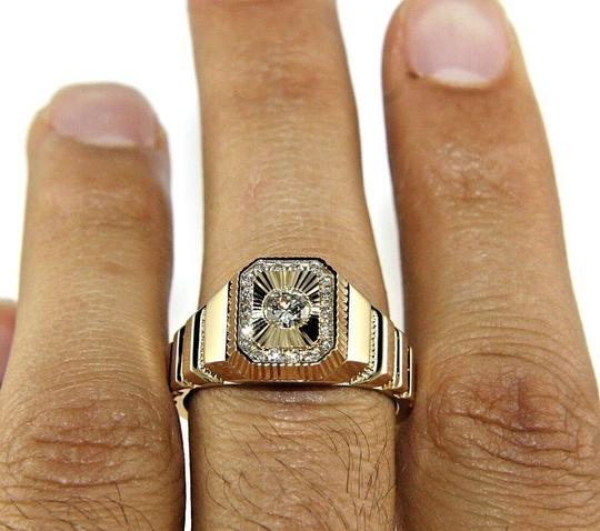 Other Round Diamond Square Solitaire Men's Signet Ring 14k Yellow Gold .50Ct Image 1