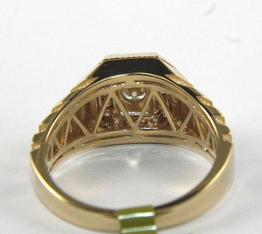 Other Round Diamond Square Solitaire Men's Signet Ring 14k Yellow Gold .50Ct Image 2