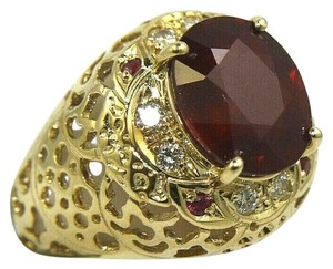 Other Oval Red Ruby & Diamond Halo Solitaire Ring 14k Yellow Gold 6.35Ct