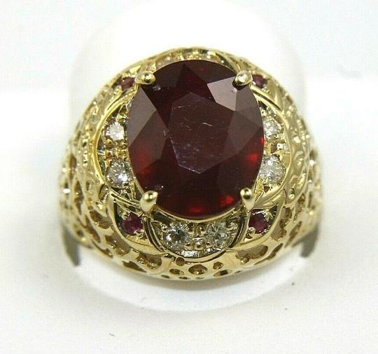 Other Oval Red Ruby & Diamond Halo Solitaire Ring 14k Yellow Gold 6.35Ct Image 1