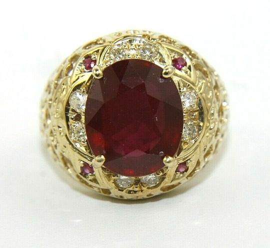 Other Oval Red Ruby & Diamond Halo Solitaire Ring 14k Yellow Gold 6.35Ct Image 4