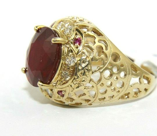 Other Oval Red Ruby & Diamond Halo Solitaire Ring 14k Yellow Gold 6.35Ct Image 5