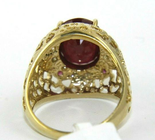 Other Oval Red Ruby & Diamond Halo Solitaire Ring 14k Yellow Gold 6.35Ct Image 6